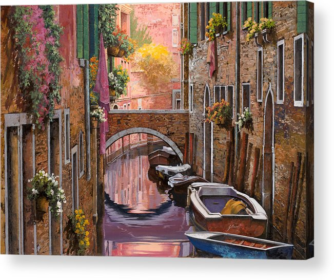 Venice Acrylic Print featuring the painting Mimosa Sui Canali by Guido Borelli
