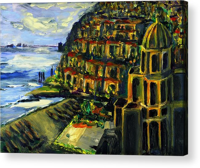 Positano Acrylic Print featuring the painting Moonlight Over Positano by Randy Sprout