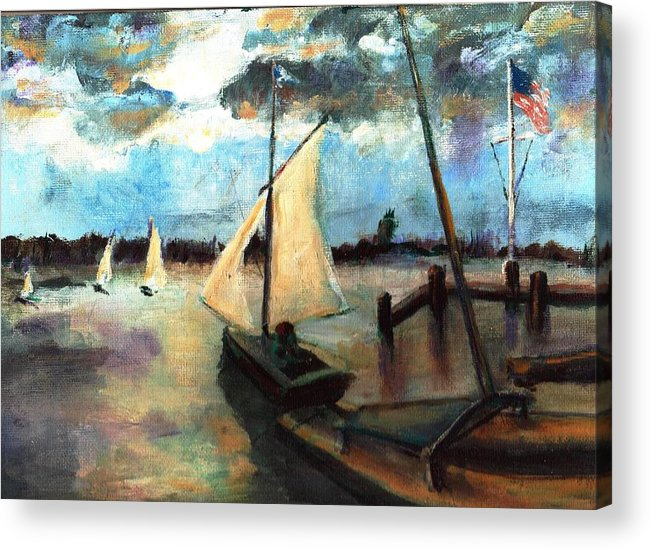 Newport Acrylic Print featuring the painting Newport Moonlight Sail by Randy Sprout