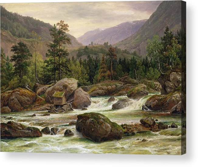 Norwegian Acrylic Print featuring the painting Norwegian Waterfall by Thomas Fearnley