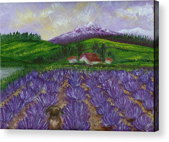 Sunrise Acrylic Print featuring the painting Nui In Lavender Field by Laura Johnson