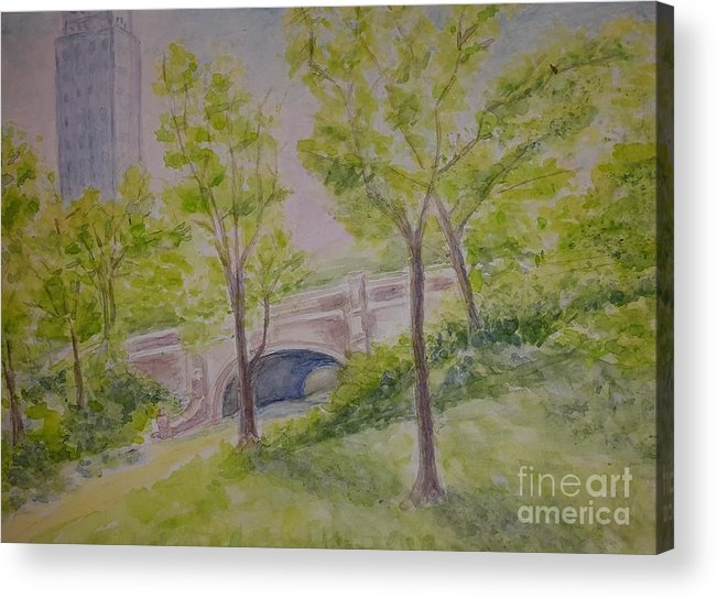 Summer Landscape Acrylic Print featuring the painting Nyc Central Park. Spring by Olga Malamud-Pavlovich