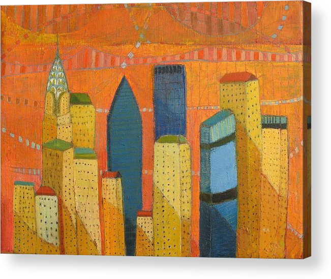 Abstract Cityscape Acrylic Print featuring the painting Nyc With Chrysler by Habib Ayat