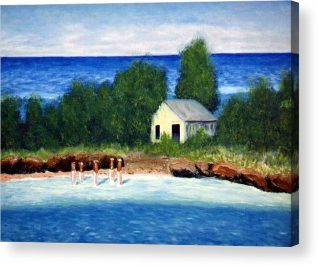 Seascape Acrylic Print featuring the painting Ocean Shack by Stan Hamilton