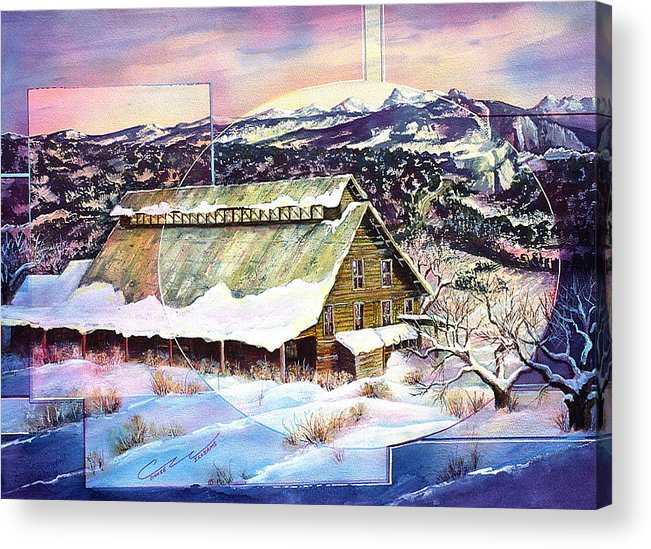 Barn Acrylic Print featuring the painting Old Stelty Packing Shed by Connie Williams