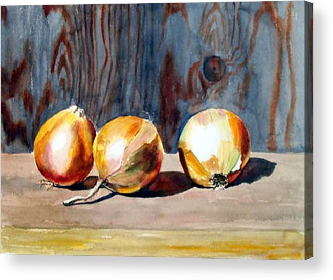 Still Life Acrylic Print featuring the print Onions In The Sun by Anne Trotter Hodge