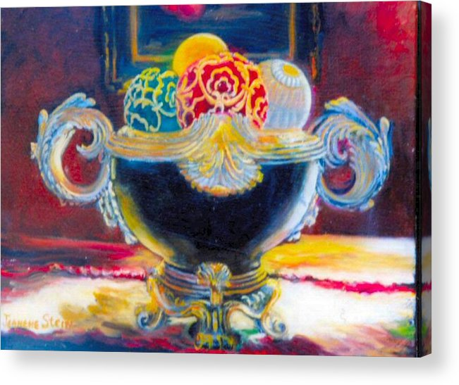 Black Ornate Bowl Acrylic Print featuring the painting Ornate Black Bowl by Jeanene Stein