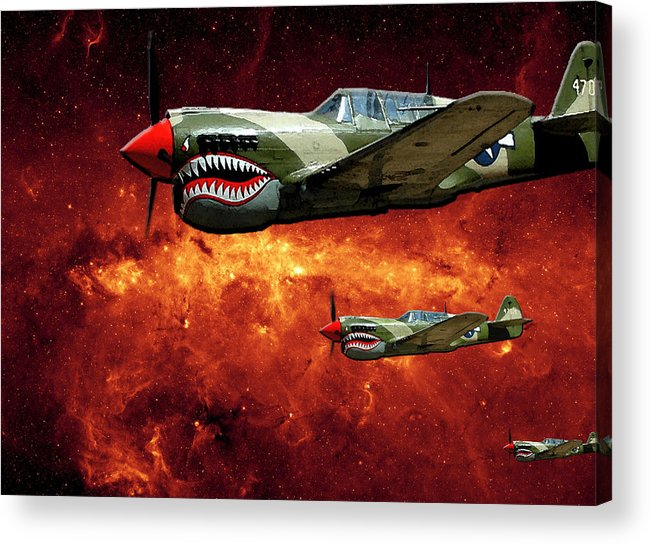P40 Acrylic Print featuring the photograph P40s A Long Ways From Home by Lawrence Costales