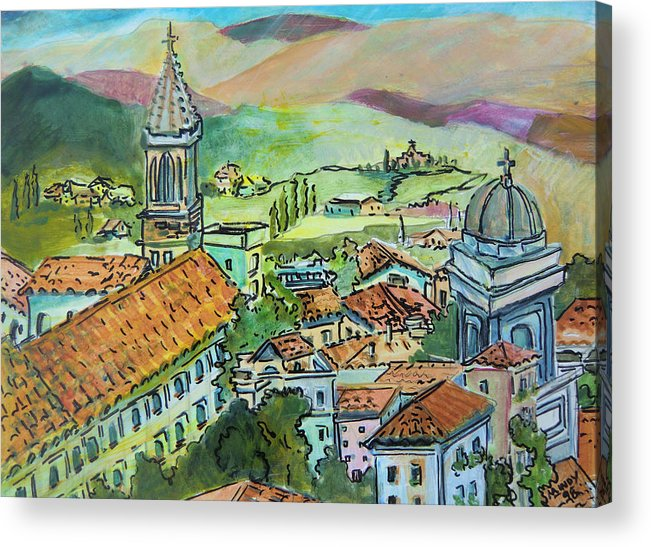 Perugia Acrylic Print featuring the painting Perugia Italy by Mindy Newman