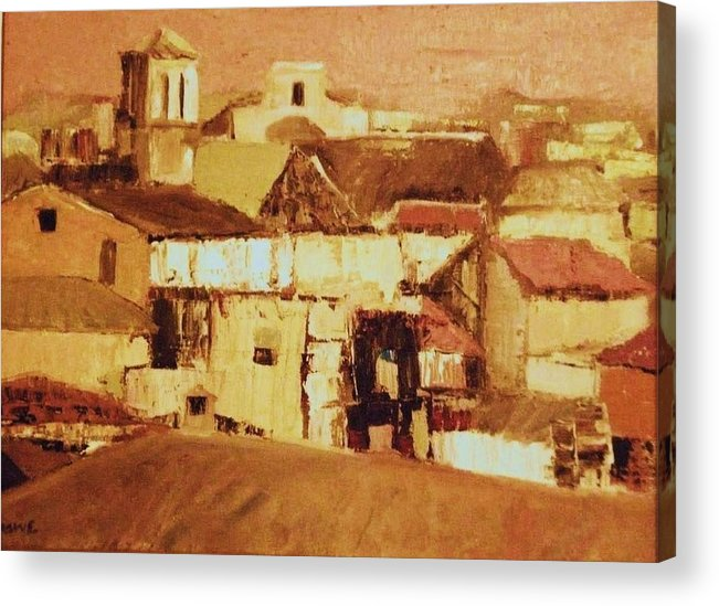 Rooftops Acrylic Print featuring the painting Pink Sky Granada by Renee Rowe