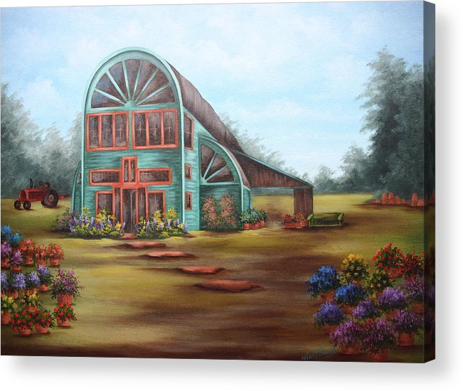 Greenhouse Acrylic Print featuring the painting Plants For Sale by Ruth Bares