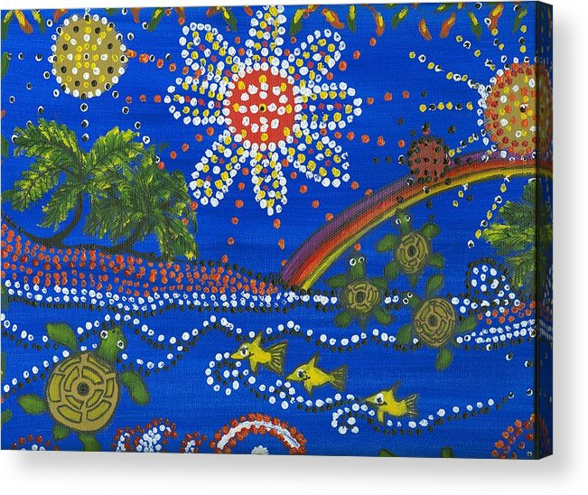 Ocean Party Acrylic Print featuring the painting Playing In The Sun by Laura Johnson