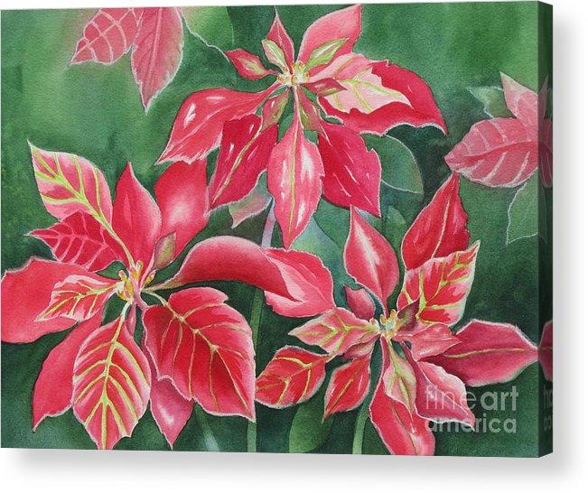 Poinsettias Acrylic Print featuring the painting Poinsettia Magic by Deborah Ronglien