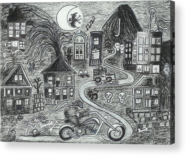 Acrylic Print featuring the drawing Police On Halloween Night Jerome Az. by Ingrid Szabo