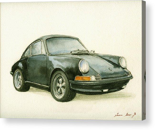 Porsche Decor Acrylic Print featuring the painting Porsche 911 Classic Car Art by Juan Bosco