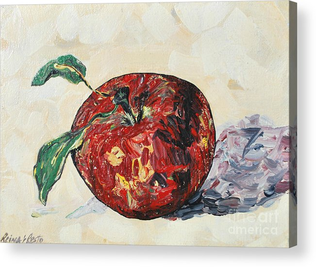 Apples Acrylic Print featuring the painting Pretty Apple by Reina Resto