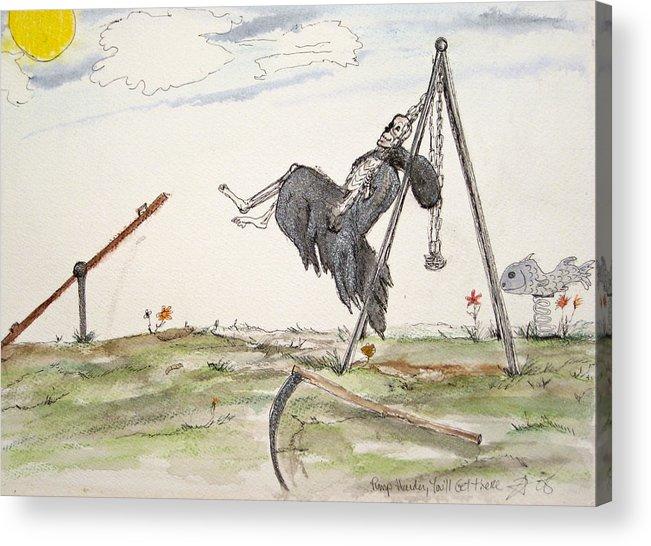 Darkestartist Death Humor Ink Playground Swing Watercolor Watercolour Darkest Artist Pump Harder Seesaw Acrylic Print featuring the painting Pump Harder Youll Get There by Darkest Artist