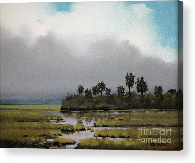 Landscape Acrylic Print featuring the painting Rain On The Way by Glenn Secrest