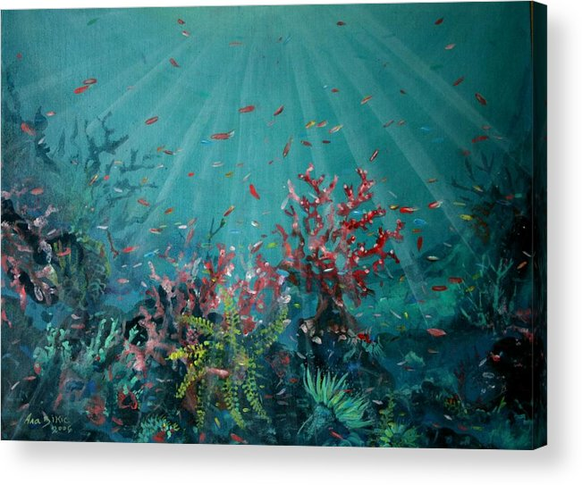 Acrylic On Canvas Acrylic Print featuring the painting Red Reef 2006  by Ana Bikic