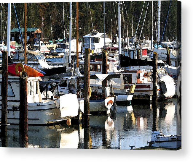 Dock Acrylic Print featuring the photograph Reflections At Dock II by Mary Gaines
