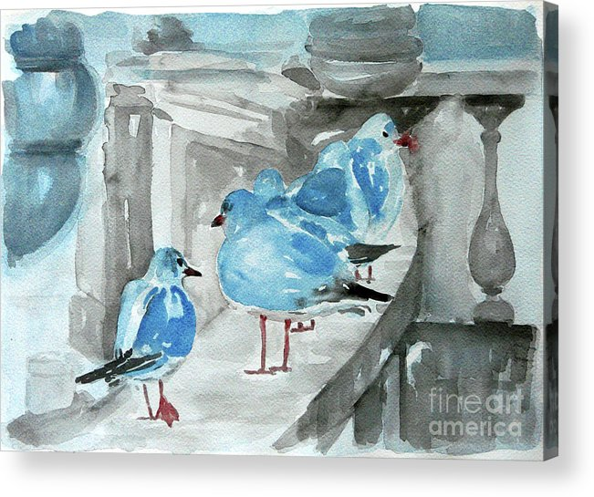 Seagulls Acrylic Print featuring the painting Rest By The Sea by Jasna Dragun