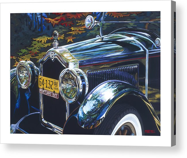 Buick 1925 Portland Ore Car Automobile Antique Black License Plate Reflection Trees Fall Leaf Green Acrylic Print featuring the painting Roadmaster by Mike Hill