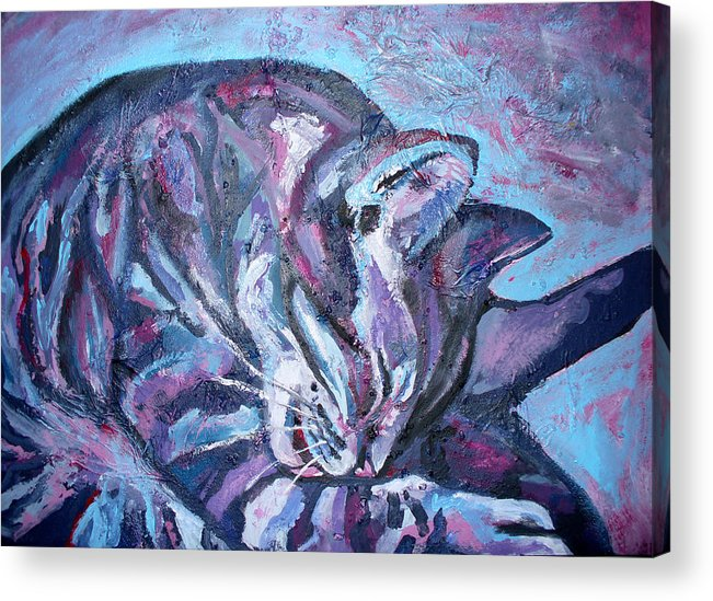 Wash Acrylic Print featuring the painting Rocky In Blue by Sarah Crumpler