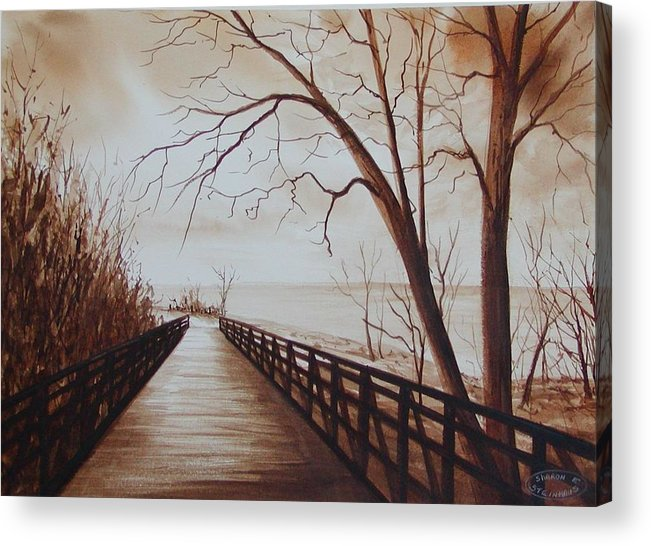 Sepia Watercolour Of Bridge At Waterfront Acrylic Print featuring the painting Rotary Bridge by Sharon Steinhaus