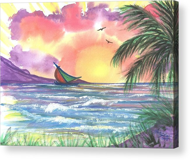 Tropical Seascape Acrylic Print featuring the painting Sailing Away by Laura Johnson