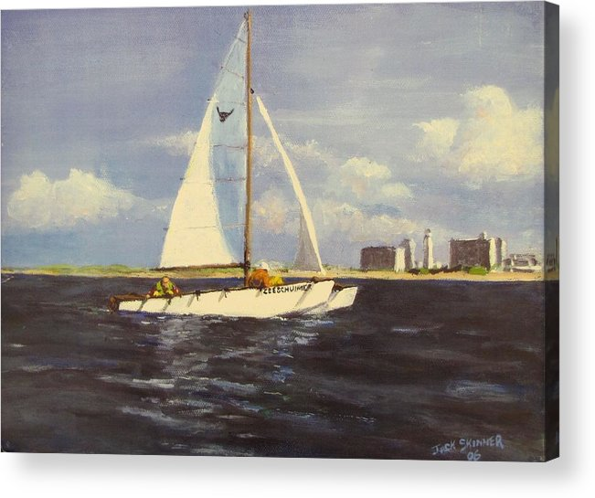 Sailboat Acrylic Print featuring the painting Sailing In The Netherlands by Jack Skinner