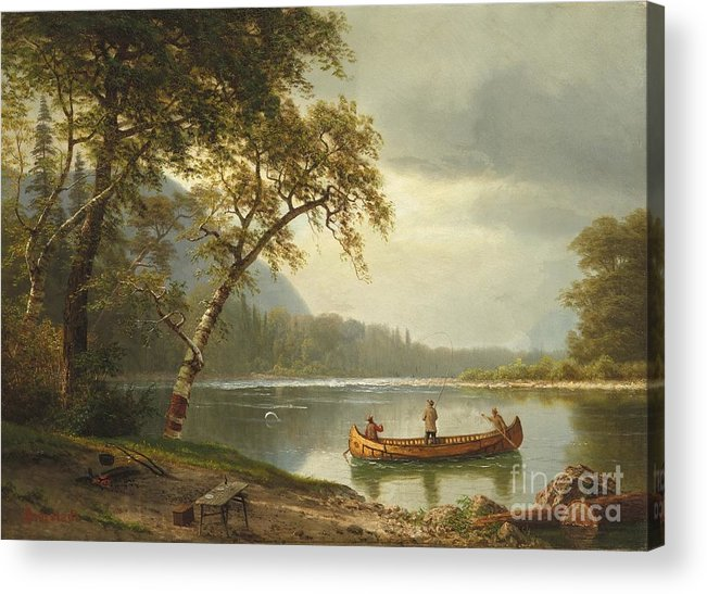 Landscape; Rural; Countryside; Canadian; Fishermen; Boat; Leisure; Calm; Peaceful; Kayak; Camp; Campfire; Fire; Kettle; Scenic; Riverbank Acrylic Print featuring the painting Salmon Fishing On The Caspapediac River by Albert Bierstadt