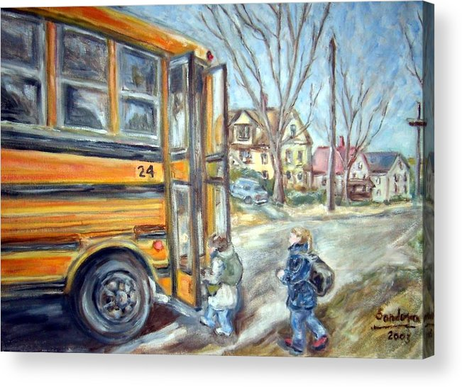 Landscape With Children Houses Street School Bus Acrylic Print featuring the painting School Bus by Joseph Sandora Jr