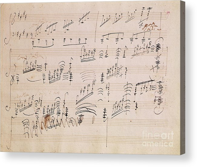 Score Acrylic Print featuring the painting Score Sheet Of Moonlight Sonata by Ludwig van Beethoven