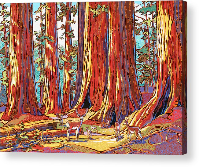 Sequoia Trees Acrylic Print featuring the painting Sequoia Deer by Nadi Spencer