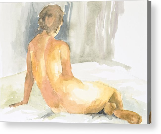 Nude Woman Acrylic Print featuring the painting Sitting Figure by Eugenia Picado
