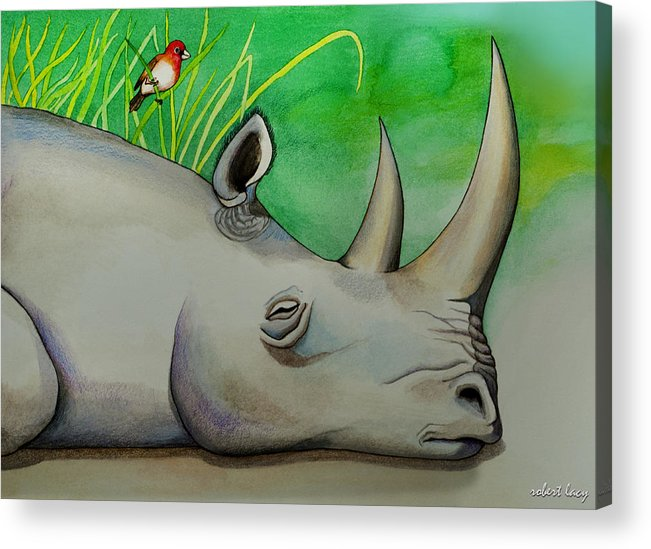 Rhinoceros Acrylic Print featuring the painting Sleeping Rino by Robert Lacy