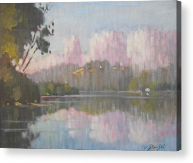 Berkshire Hills Paintings Acrylic Print featuring the painting Soft Reflections by Len Stomski