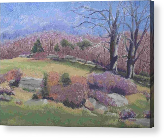 Landscape Acrylic Print featuring the painting Spring At Ashlawn Farm by Paula Emery