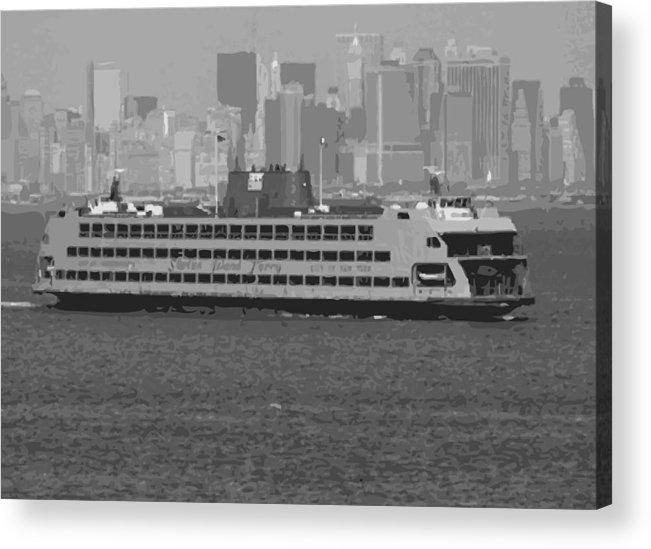 Staten Island Ferry Acrylic Print featuring the photograph Staten Island Ferry Bw16 by Scott Kelley