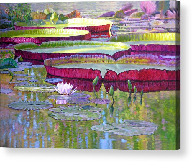 Lily Pond Acrylic Print featuring the painting Sunlight On Lily Pads by John Lautermilch