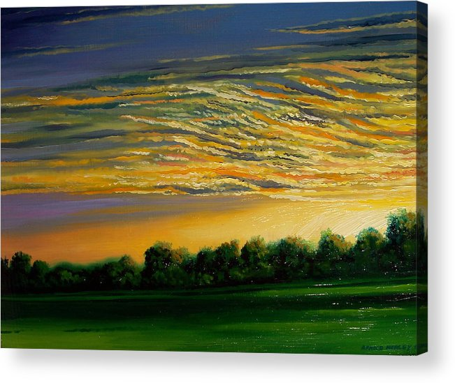 Landscape Acrylic Print featuring the painting Sunrise by Arnold Hurley