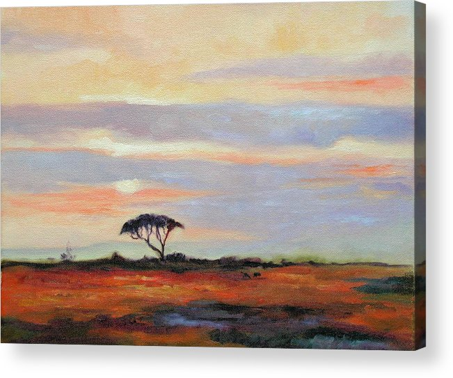 Landscape Acrylic Print featuring the painting Sunset On The Serengheti by Ginger Concepcion