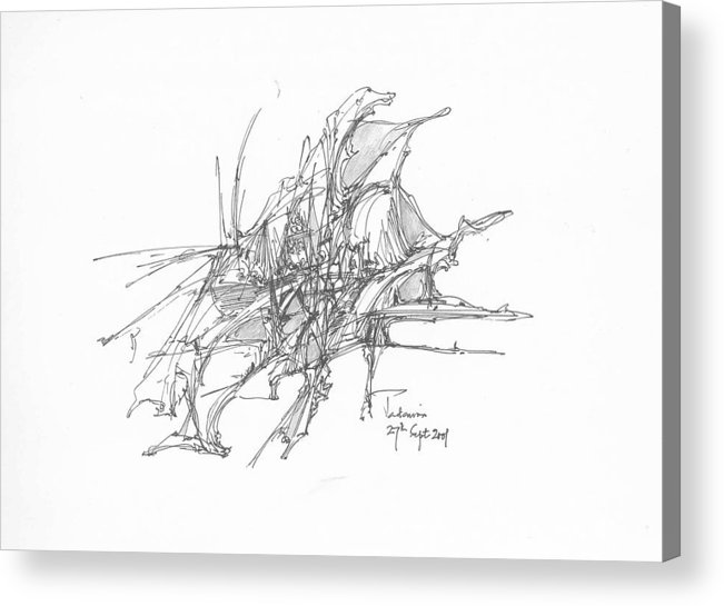 Landscape Acrylic Print featuring the drawing Surrealscape 6 by Padamvir Singh