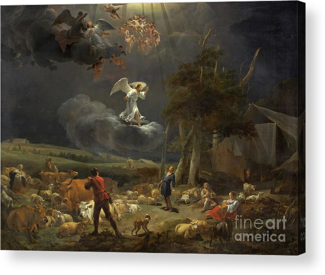 Berchem Acrylic Print featuring the painting The Annunciation To The Shepherds by Nicolaes Pietersz Berchem