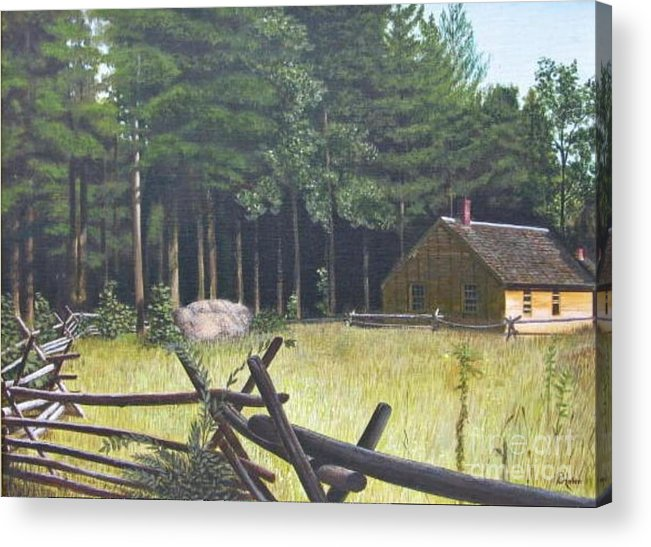 Landscape Acrylic Print featuring the painting The District School House by Donald Hofer