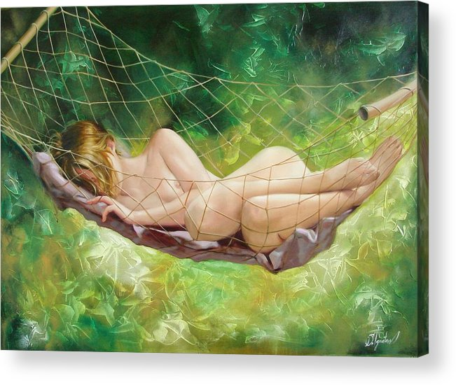 Oil Acrylic Print featuring the painting The Dream In Summer Garden by Sergey Ignatenko