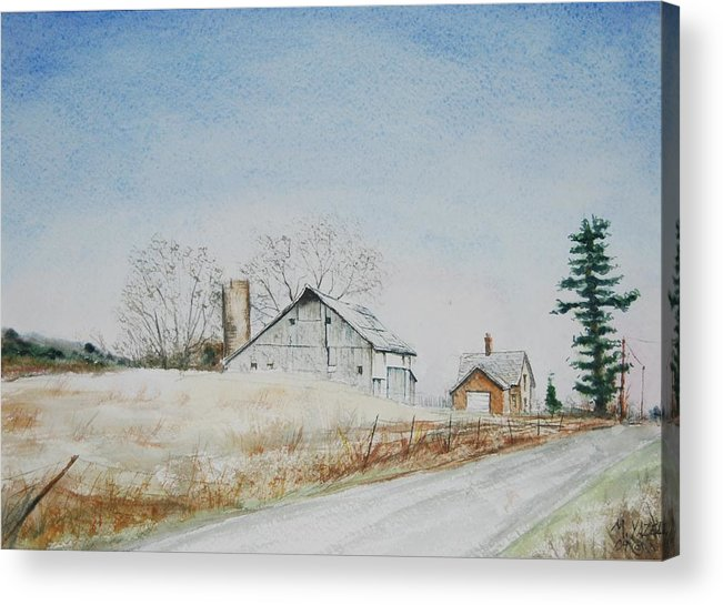 Landscape Acrylic Print featuring the painting The Drockner Place by Mike Yazel