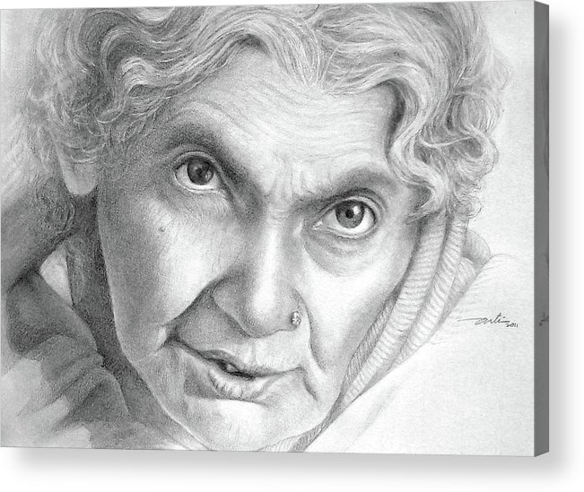 Women Acrylic Print featuring the drawing The Intense Gaze by Arti Chauhan