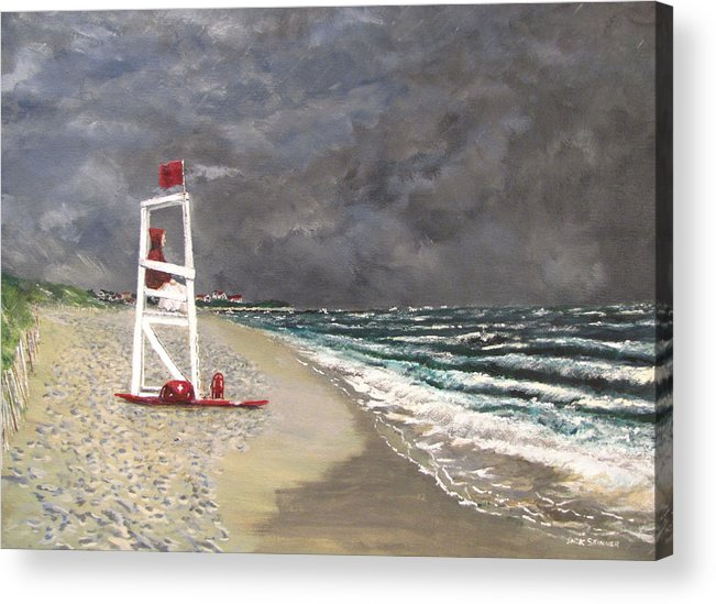 Seascape Acrylic Print featuring the painting The Last Lifeguard by Jack Skinner