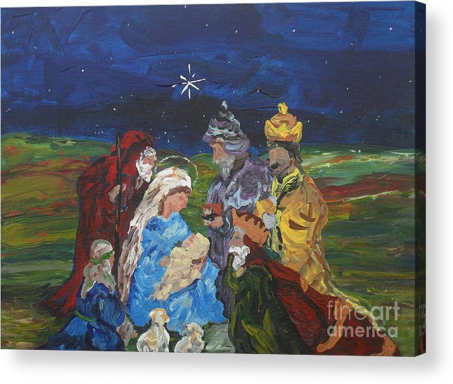 Nativity Acrylic Print featuring the painting The Nativity by Reina Resto